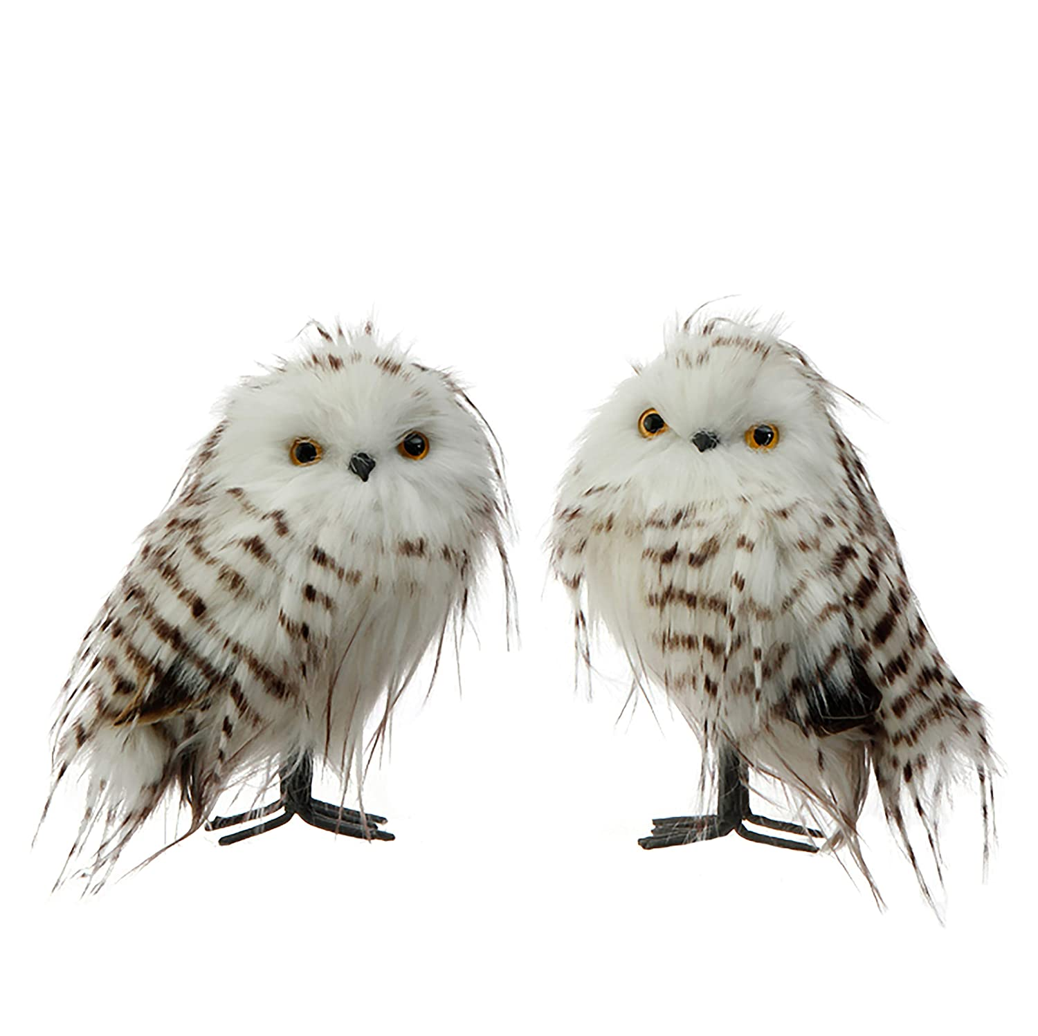 Snowy Brown and White Owl Figurines Set of 2 - ChristmasTablescapeDecor.com