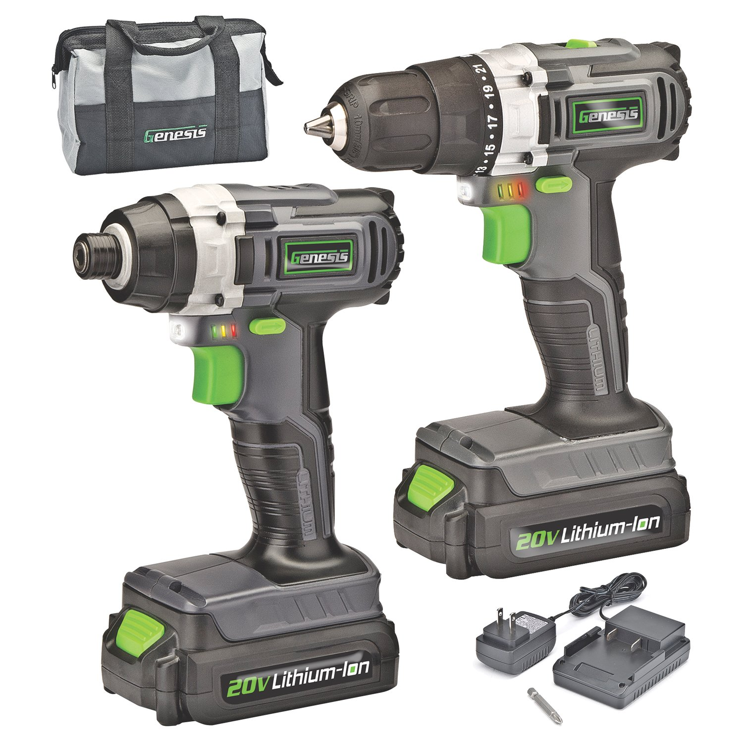 Genesis 20-Volt Lithium-Ion Cordless Drill Impact Driver Combo Kit 2-Tool