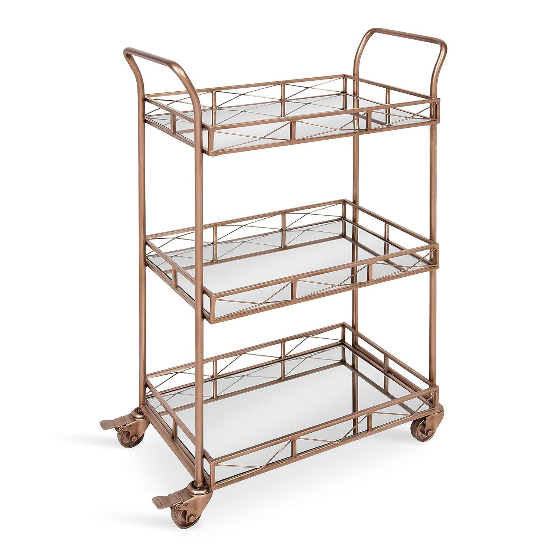 Kate and Laurel Ketia 3-Shelf Metal and Mirror Tray Bar, Kitchen, Multi-Purpose Cart, Rose Gold