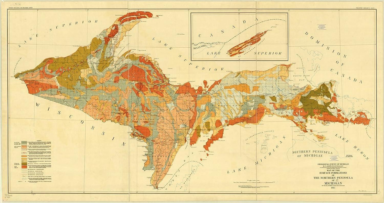Upper Pennisula Michigan Map.Amazon Com Historic Map Upper Peninsula Michigan 1911 Map Of