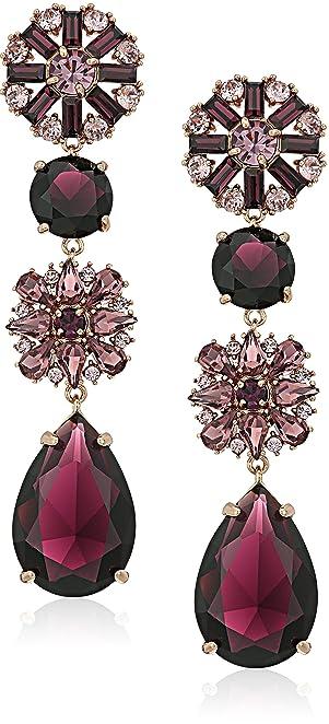 Purple/Multi-Colored Drop Earrings