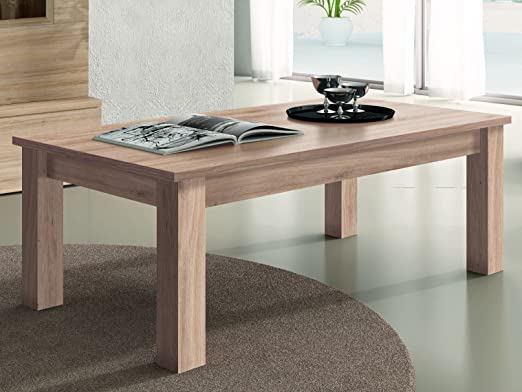 RAMIS-Mesa baja rectangular de mesa de madera 100 x 50 cm, color ...