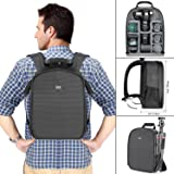 Neewer Camera Case Waterproof Shockproof 11.8x5.5x14.6 inches/30x14x37 Centimeters Camera Backpack Bag with Tripod Holder for DSLR, Mirrorless Camera, Flash or Other Accessories