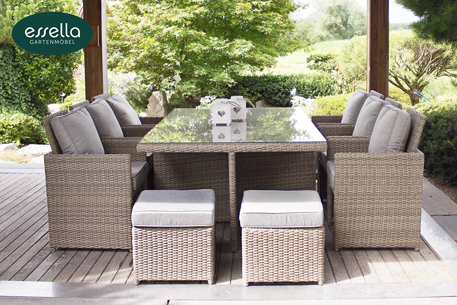 polyrattan sitzgruppe vienna 6 personen rundgeflecht hellbraun gartenm bel terassenm bel. Black Bedroom Furniture Sets. Home Design Ideas