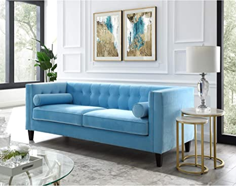 Amazon.com: Inspired Home Sky Blue Velvet Sofa - Design: Lotte   Tufted   Square Arms   Tapered Legs   Contemporary: Kitchen & Dining