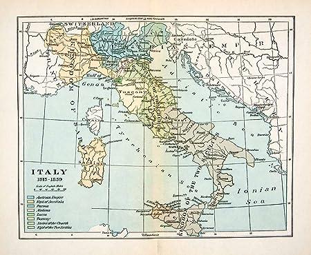 1923 Print Map Italy Kingdom Sardinia Tyrrhenian Turkey ...