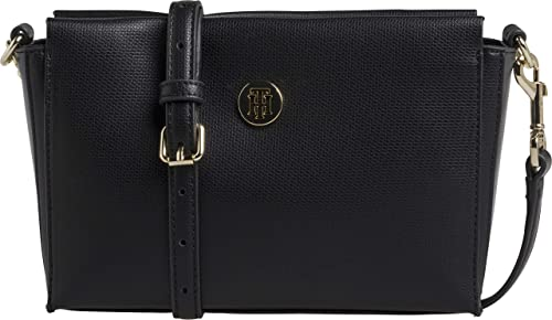 4c6fab9a64 Tommy Hilfiger Effortless Saffiano Xover, Women's Cross-Body Bag, Black,  6x18x25 cm