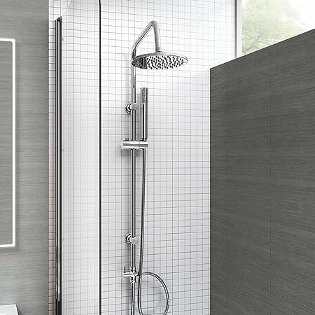 iBathUK Modern Chrome Riser Rail Mixer Round Shower Head Kit for ...