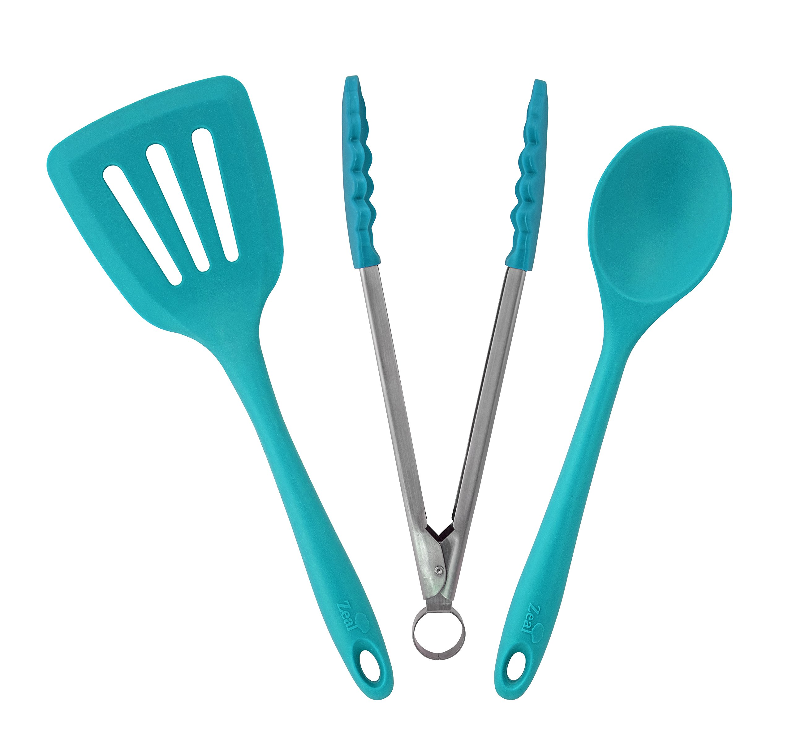 ZEAL 3 piece Kitchen Utensil Set - Cooks Spoon, Turner and Tong - European Grade Pure Silicone, Heat Resistant to 482F (Blue)