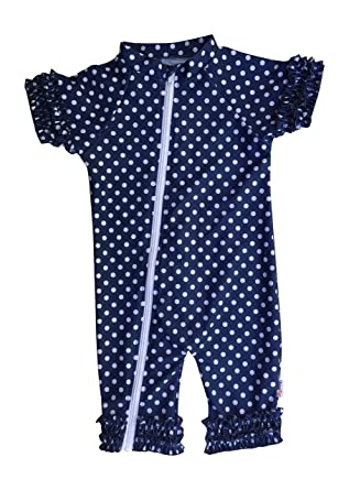 956a24f205 SwimZip Baby Girl Short Sleeve Sunsuit with UPF 50+ UV Sun Protection Blue  18-