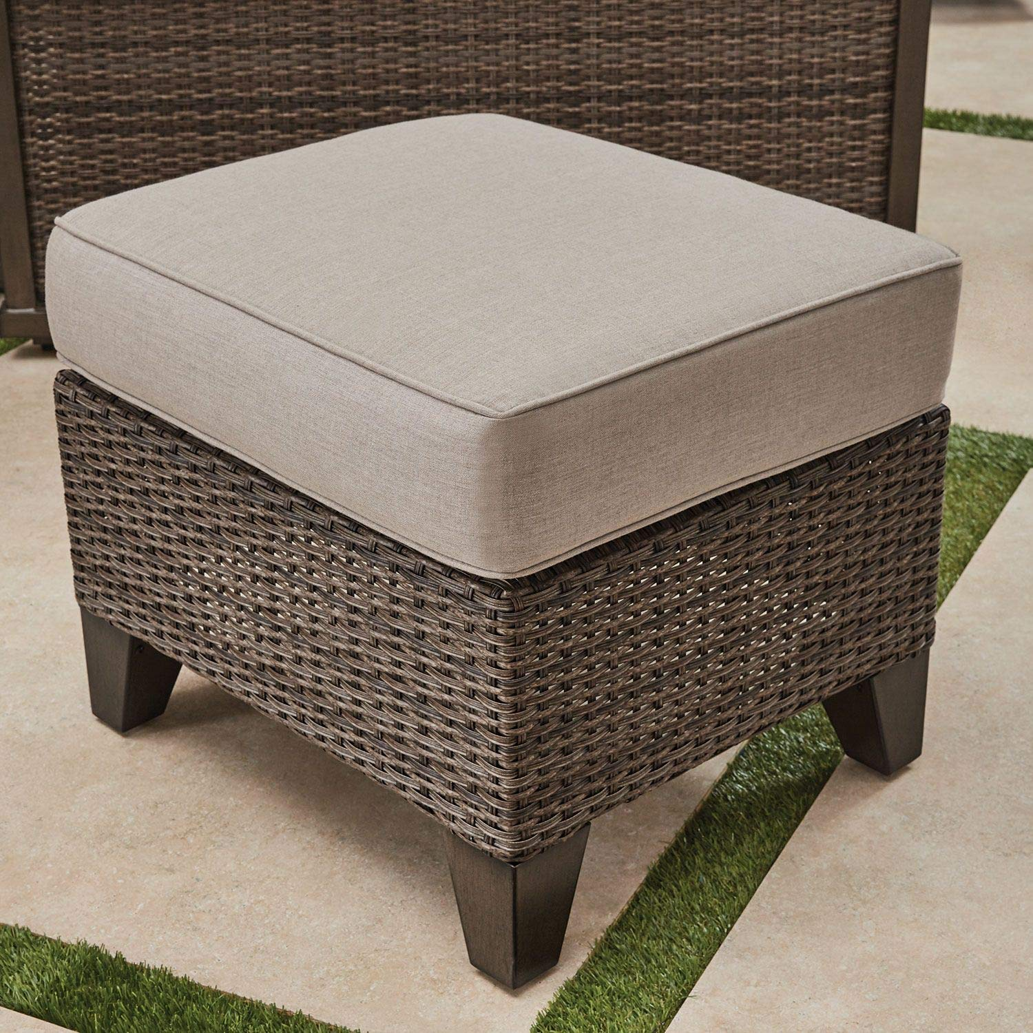 Amazon com agio handwoven all weather wicker outdoor patio 6pc lp gas firepit table seating set garden outdoor