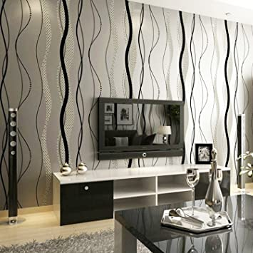 Fashion Minimalist Geometric Lines Wavy Background Wallpaper Living Room TV  W.