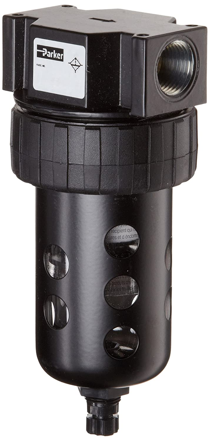 """Parker 06F32AC Compressed Air Filter, Removes Particulate, Polycarbonate Bowl with Metal Bowl Guard, Manual Drain, 40 Micron, 85 scfm, 1/2"""" NPT"""