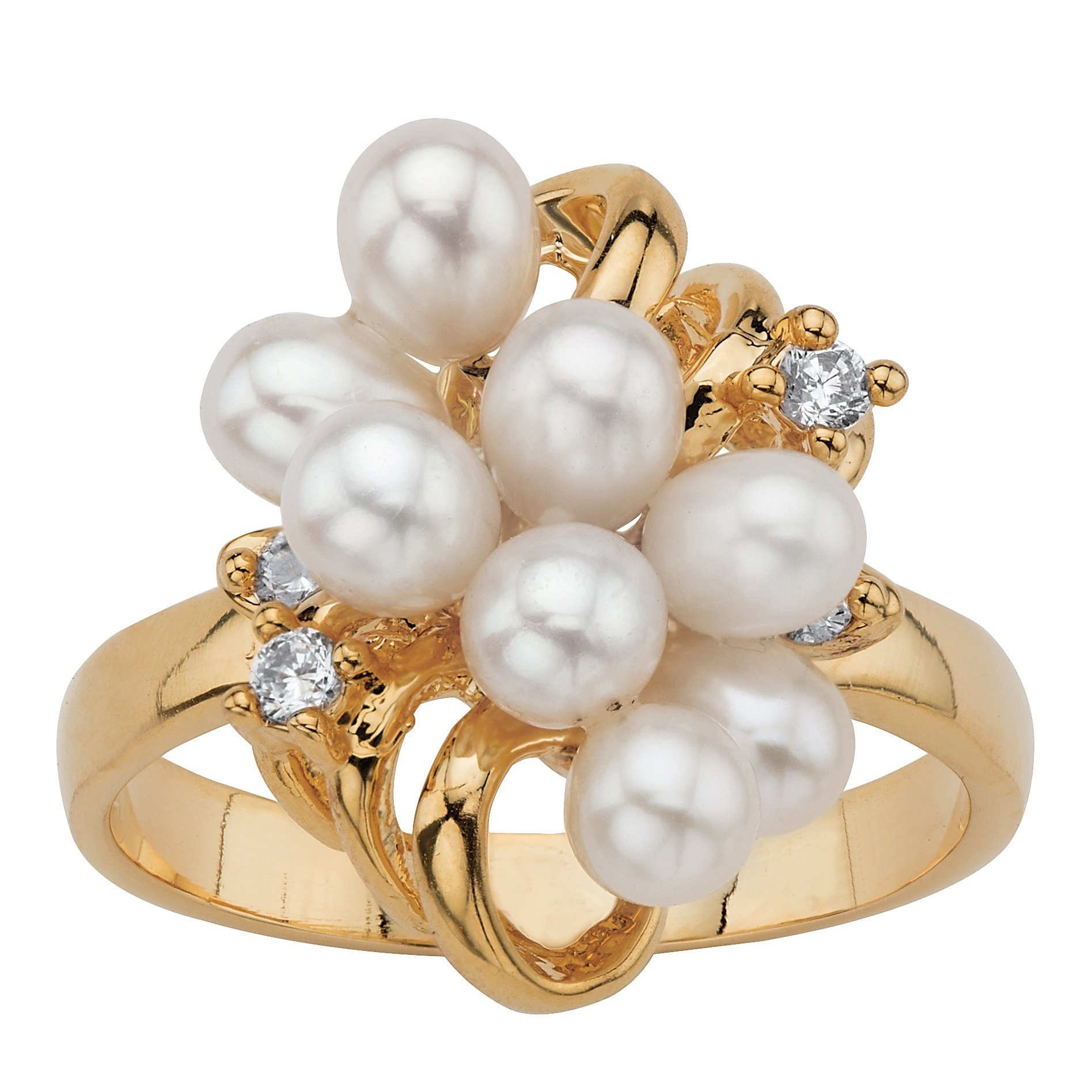 Palm Beach Jewelry White Cultured Freshwater Pearl Crystal Accent 14k Yellow Gold-Plated Cluster Cocktail Ring Size 9