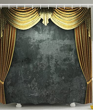 Golden Curtain Opening Scene Vintage Grunge Opera Stage Classical Decor Theater Bathroom Decorations Theme Sets Window