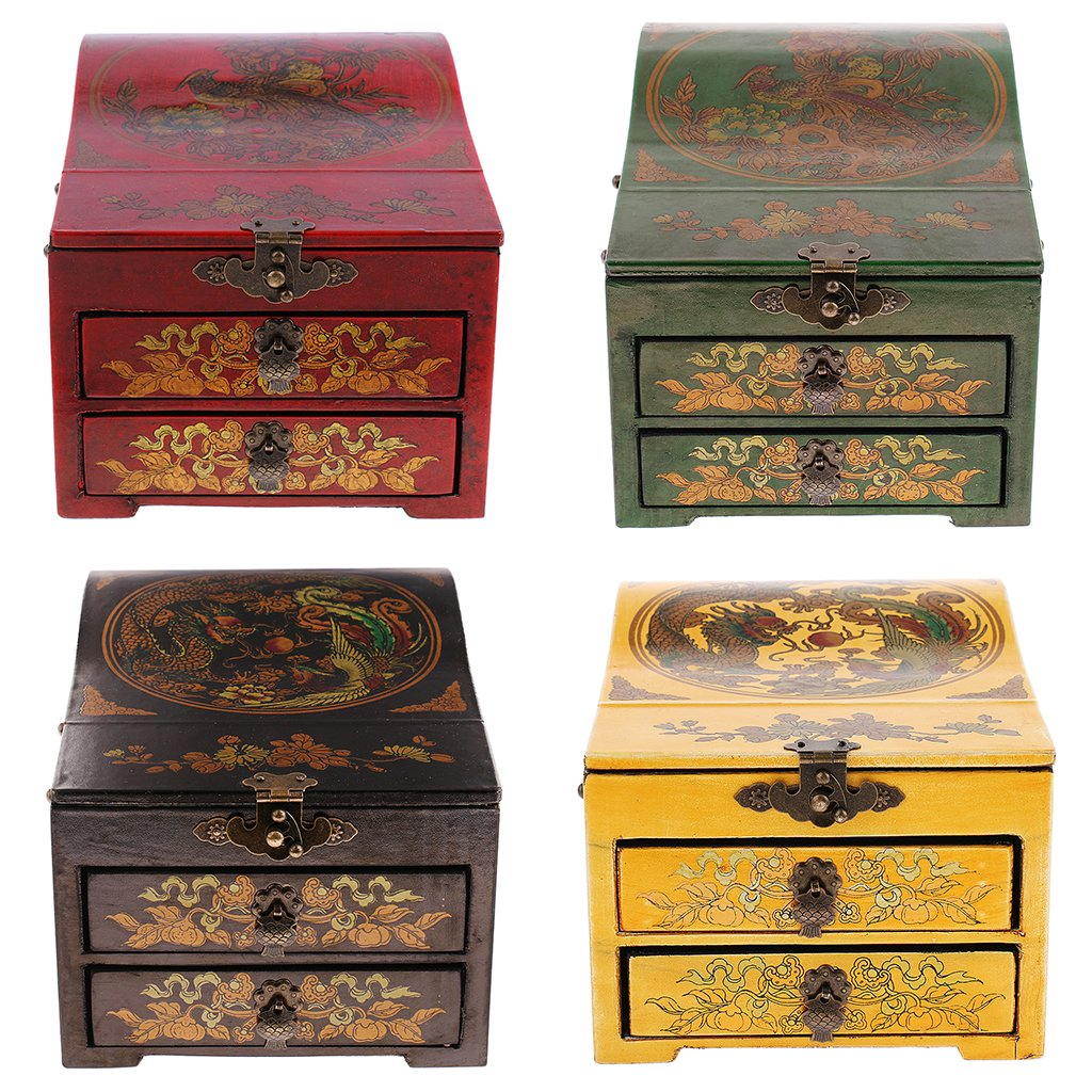 Baoblaze Vintage Jewelry Box Case Wooden Makeup Dresser Chest Cabinet Keepsake Home Decoration - Red, as described by Baoblaze (Image #7)