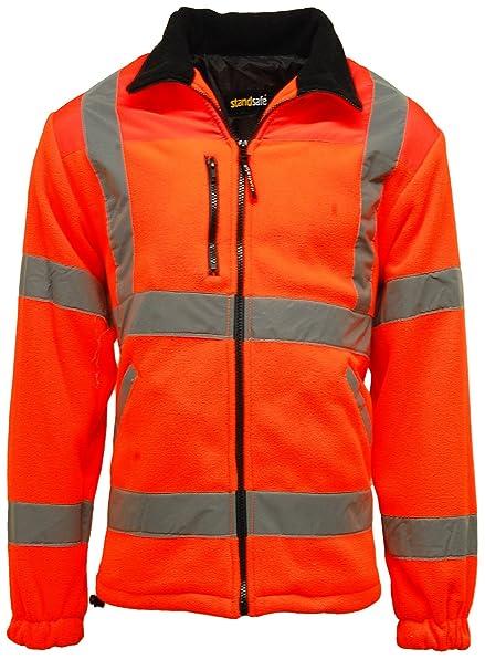 Chaqueta de trabajo reflectante para hombre, de alta visibilidad, de forro polar, Hombre, color naranja, tamaño X-Large