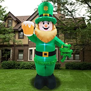 8 Foot St Patricks Day Inflatable St Patricks Day Decorations Outdoor Giant Inflatable Leprechaun with LED Light Holding Shamrocks Beer for Irish Day Yard Decoration Lucky Decor Fun Holiday Blow Up