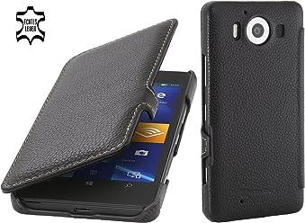 StilGut Book Type avec Clip, Housse en Cuir pour Microsoft Lumia 950 & Lumia 950 Double SIM, Noir