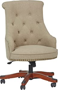 "Amazon Brand – Stone & Beam Tufted Swivel Office Chair with Wood Base and Nailhead Trim, 23.6""W, Beige"
