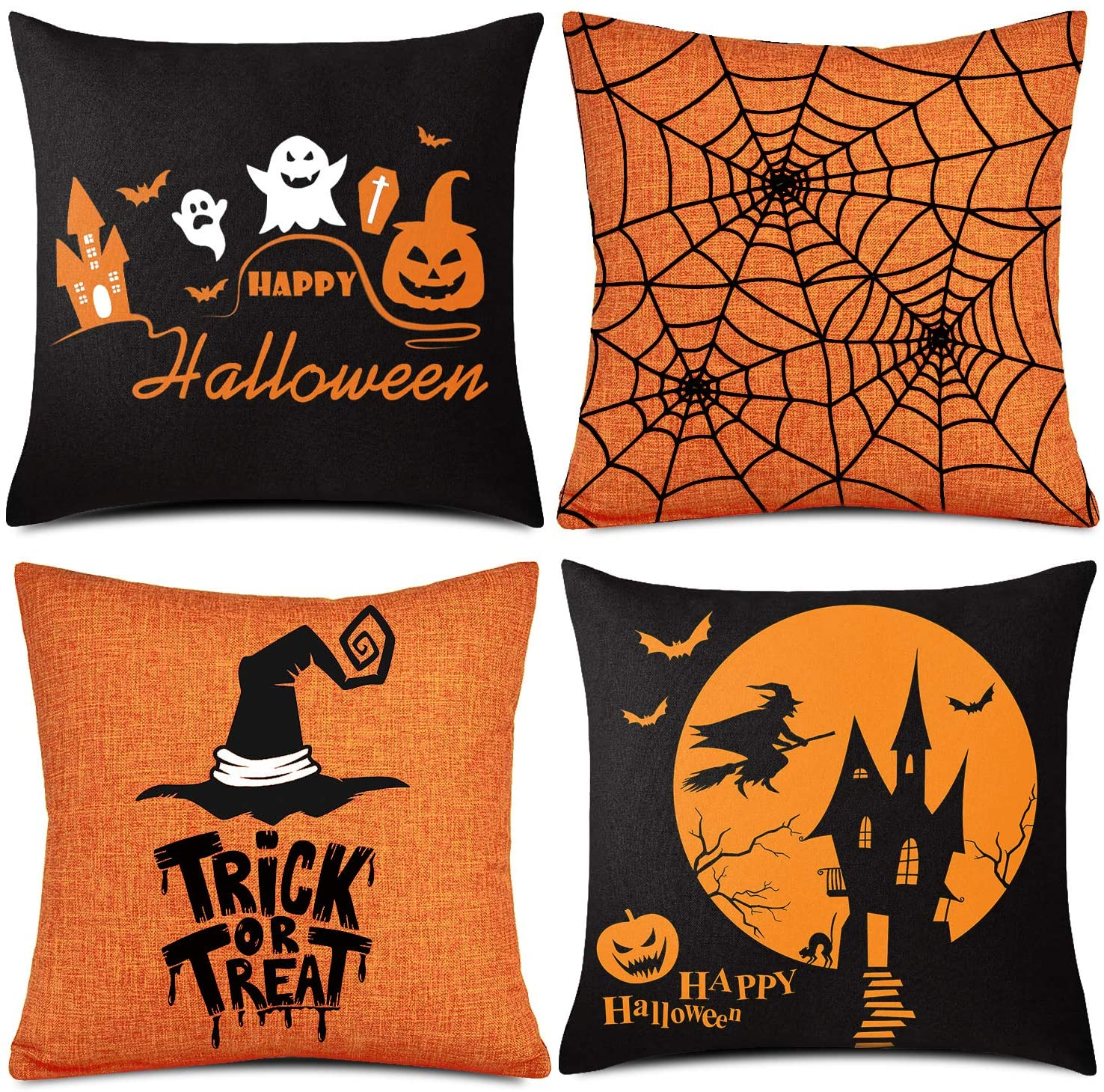 Amazon Com Whaline 4 Pieces Halloween Pillow Case Orange And Black Pillow Cover Happy Halloween Linen Sofa Bed Throw Cushion Cover Decoration 18 X 18 Home Kitchen