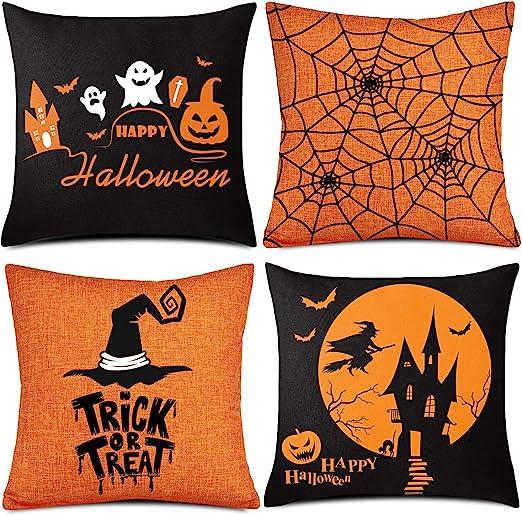Halloween Cushion Cover Soft Satin Black Home Decoration Throw Pillow Case