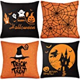 Whaline 4 Pieces Halloween Pillow Case, Orange and Black Pillow Cover, Happy Halloween Linen Sofa Bed Throw Cushion…