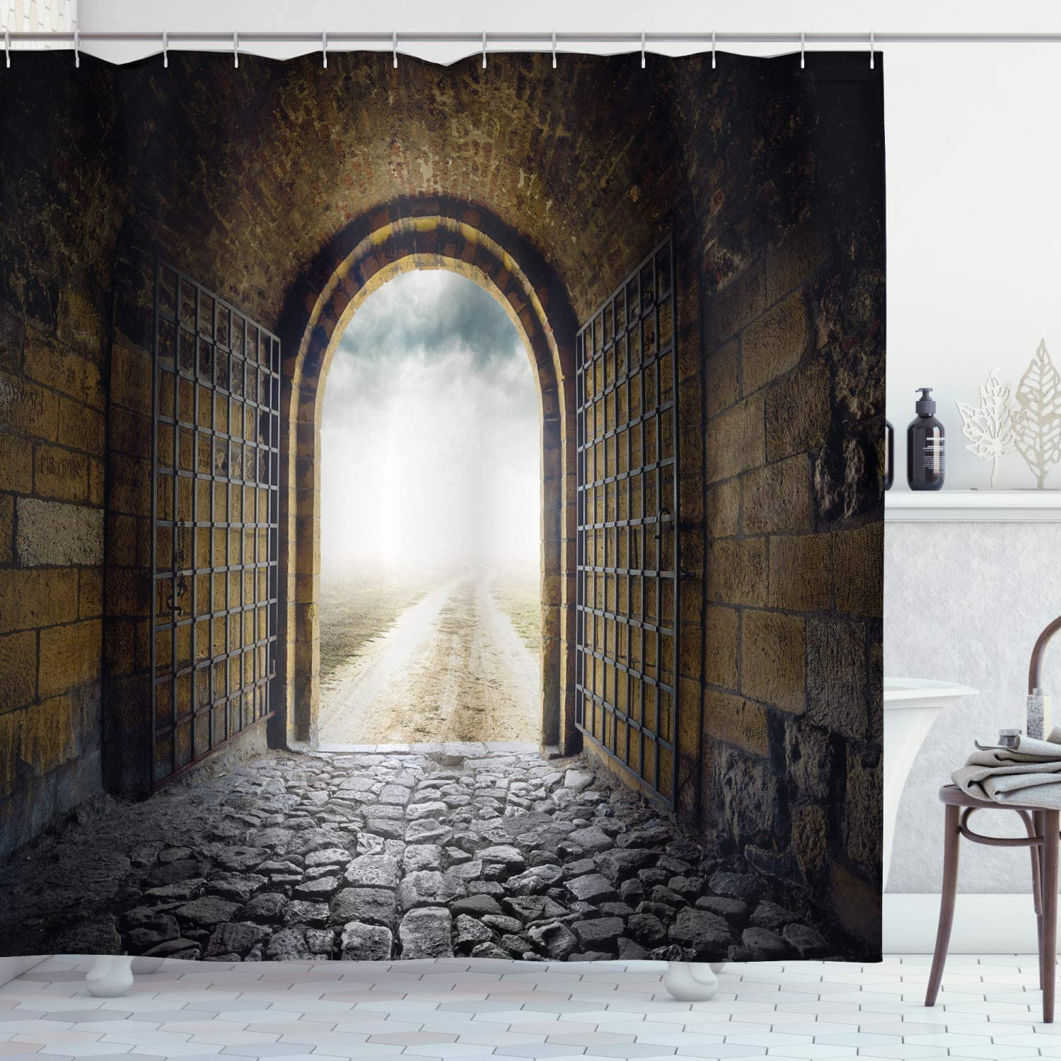 Lunarable Medieval Shower Curtain, Mesopotamia Antique Door Opens in Middle of Nowhere Lost World Culture Heritage, Cloth Fabric Bathroom Decor Set with Hooks, 70