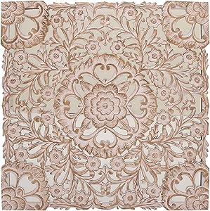 Deco 79 23781 Mirrored Wooden Wall Decor, White