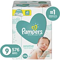 Pampers Baby Wipes Sensitive 9 Refill Packs for Dispenser Tub, Hypoallergenic and Dermatologist-Tested, 576 Count
