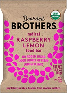 product image for Bearded Brothers Vegan Organic Food Bar   Gluten Free, Paleo and Whole 30   Soy Free, Non GMO, Low Glycemic, No Sugar Added, Packed with Protein, Fiber + Whole Foods   Raspberry Lemon   12 Pack