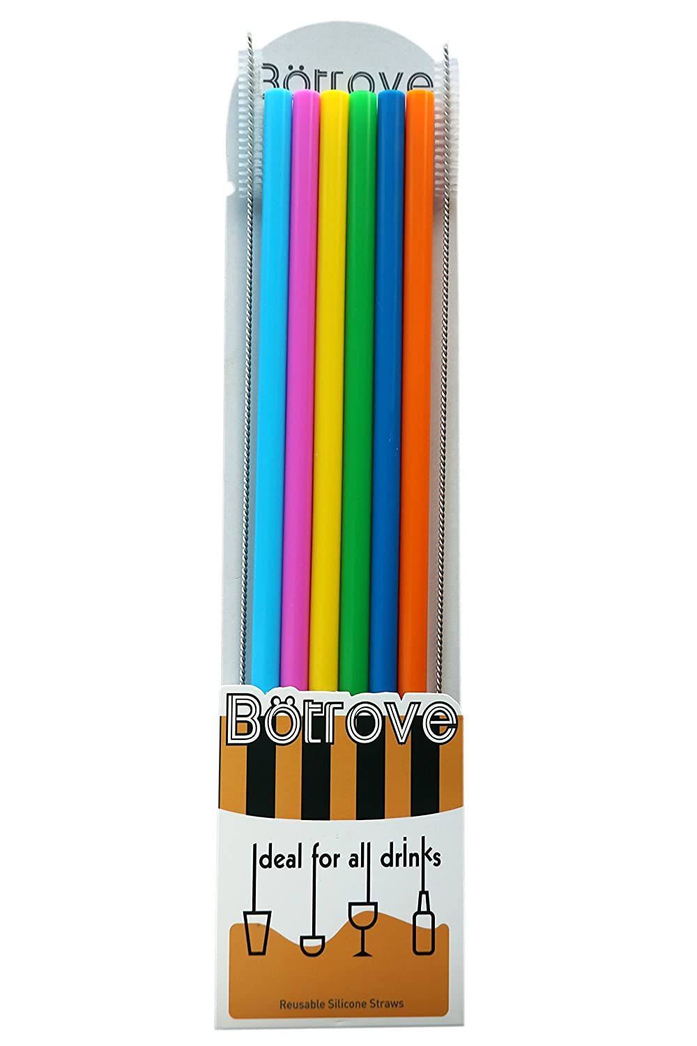 Botrove 12 Inch Extra Long Reusable Silicone Straight Straws for Extra Tall Tumbler 40 OZ Hydro Flask,32 OZ Blender Bottle Nutribullet, Nutri Ninja Cups