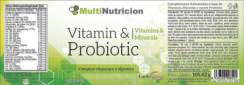 Vitamin + Probiotic LactoSpore®|Complejo MultiVitaminico con Minerales agentes Probioticos de ultima generacion y betacaroteno|Tratamiento para 6 ...