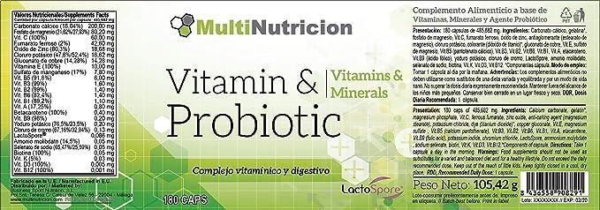 Vitamin + Probiotic LactoSpore®|Complejo MultiVitaminico con Minerales agentes Probioticos de ultima generacion y betacaroteno|Tratamiento para 6 meses|180 ...
