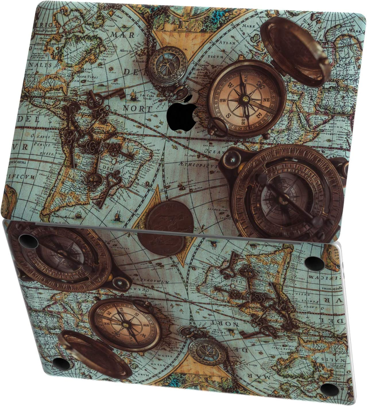 Mertak Vinyl Skin for Apple MacBook Air 13 inch Mac Pro 16 15 Retina 12 11 2020 2019 2018 2017 Design Compass Touch Bar Vintage Wrap World Map Decal Nautical Trackpad Keyboard Old Print Antique