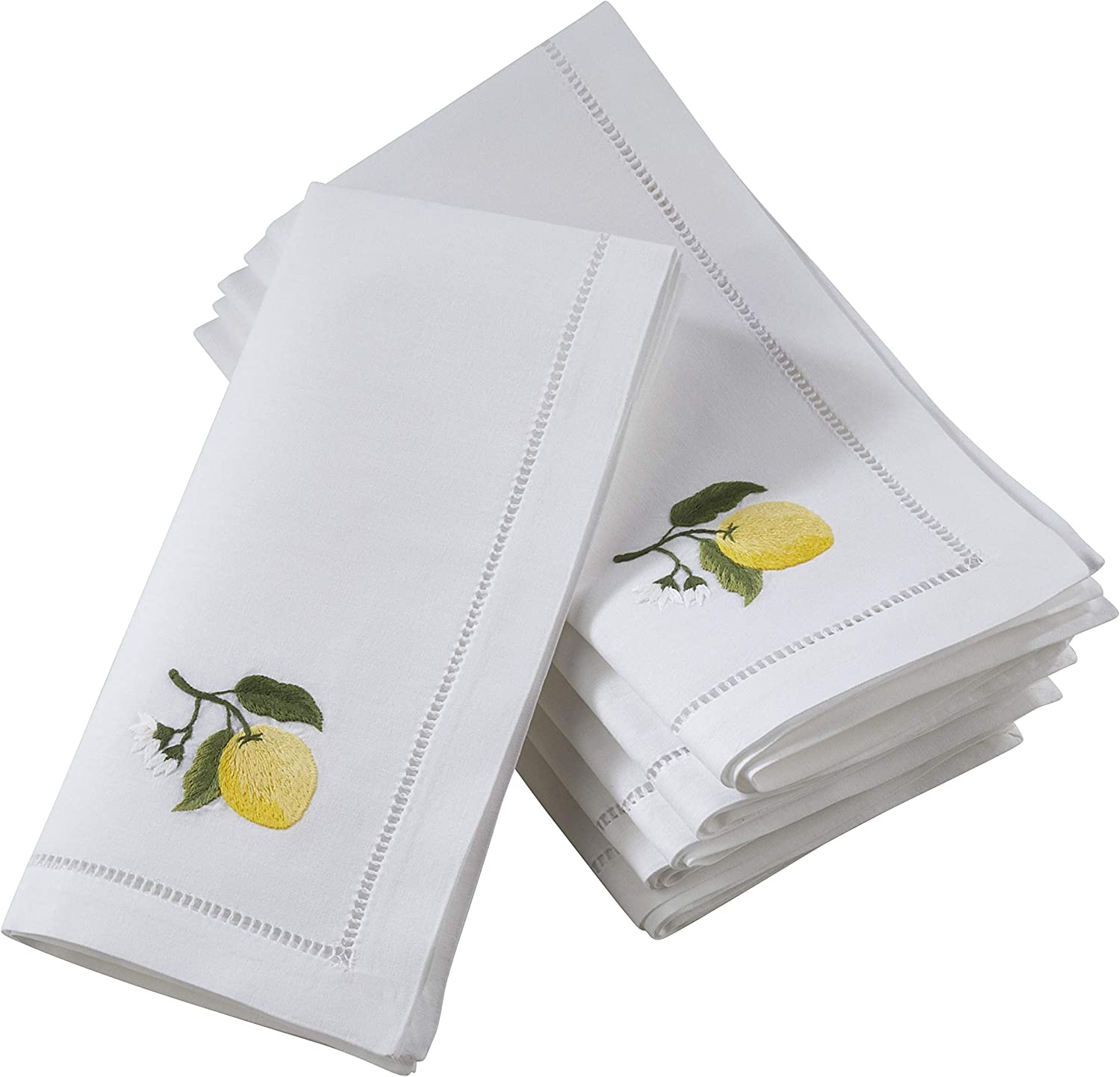 Saro Lifestyle Nm136 W20s The Broderie Collection Hemstitch Table Napkins With Embroidered Lemon Design 20 Set Of 6 Cloth Napkins Kitchen Dining