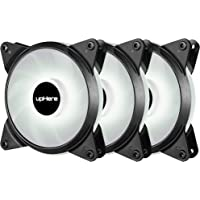upHere T12 Series 120mm PWM White LED Silent Fan for Computer Cases, CPU Coolers, and Radiators,4 Pin 3 Pack/T4WT4-3