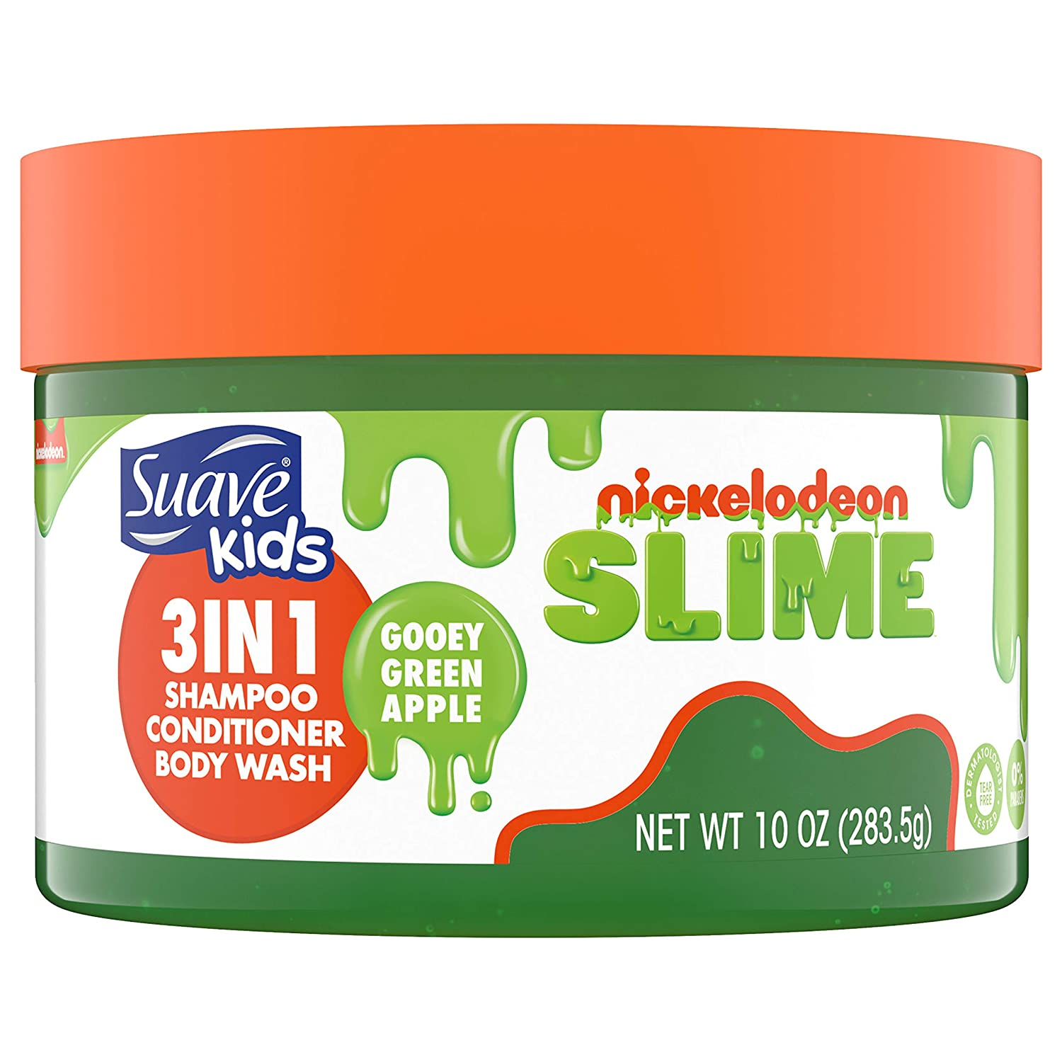 Suave Kids Shampoo, Conditioner, Body Wash 3 in 1 for Ease Gooey Green Apple Tear-Free 10 oz (10079400470390)