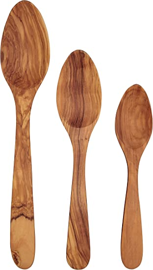 Set of 3 ScanWood Olivewood Wooden Kitchen Cooking Spoon w// Curved Handle