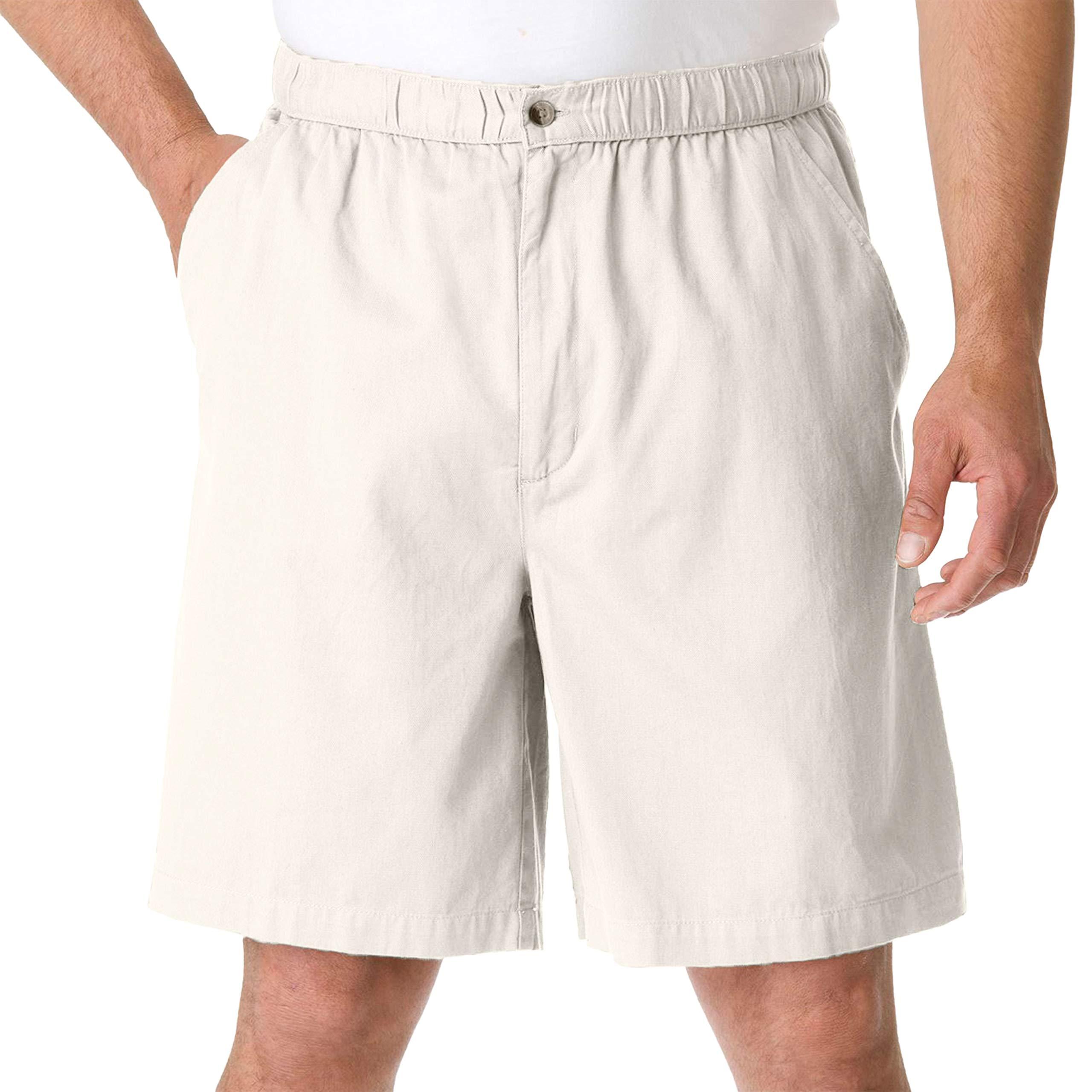 KingSize Men's Big & Tall Knockarounds 834 Full Elastic Plain Front Shorts, Stone Big-2XL