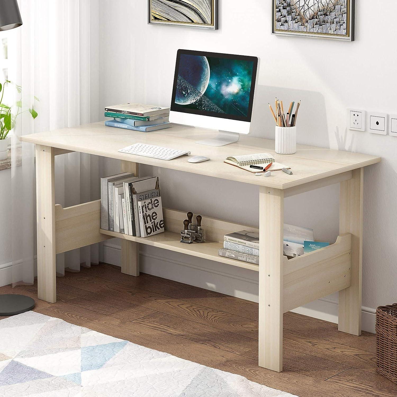 Shipment from USA Desktop Computer Desk,Modern Home Office Desk Gaming PC Laptop Desk Work Table,Home Bedroom Furniture-Workstation-Students Study Writing Desk Wood Table