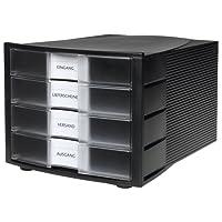 HAN 1010-X-363, module de classement IMPULS. Design innovant et attrayant de qualité supérieure. Comprend 4 tiroirs fermés avec étiquette d'indexation grand format. Noir/translucide clair