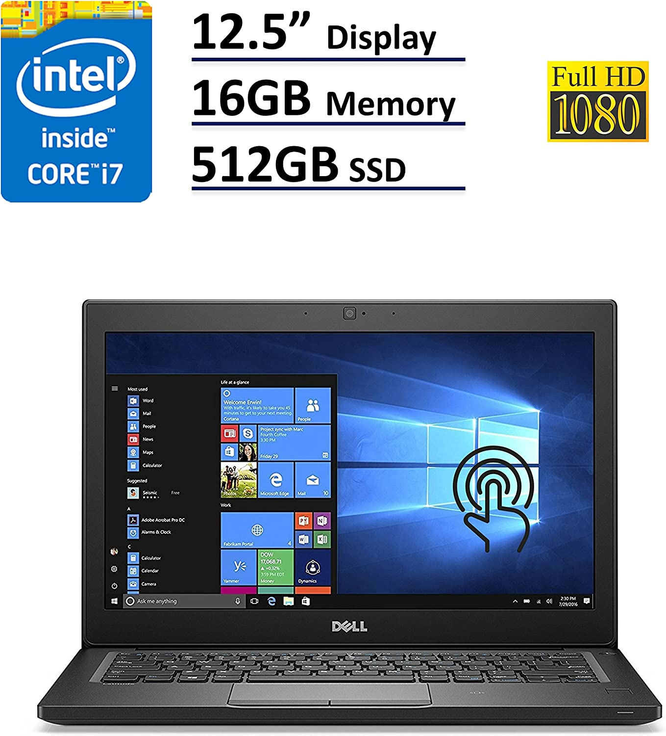 Dell Latitude 7000 7280 Business Ultrabook - 12.5in Gorilla Glass Touchscreen FHD (1920X1080), Intel i7-7600U, 512GB SSD, 16GB DDR4, Backlit Keys, FP Reader, Windows 10 Pro (Renewed)