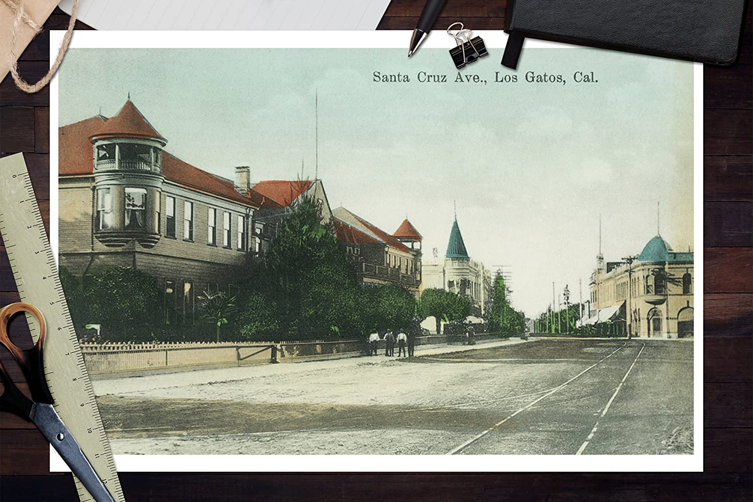 Amazon.com: Los Gatos, California - View of Santa Cruz Avenue (12x18 Art Print, Wall Decor Travel Poster): Posters & Prints