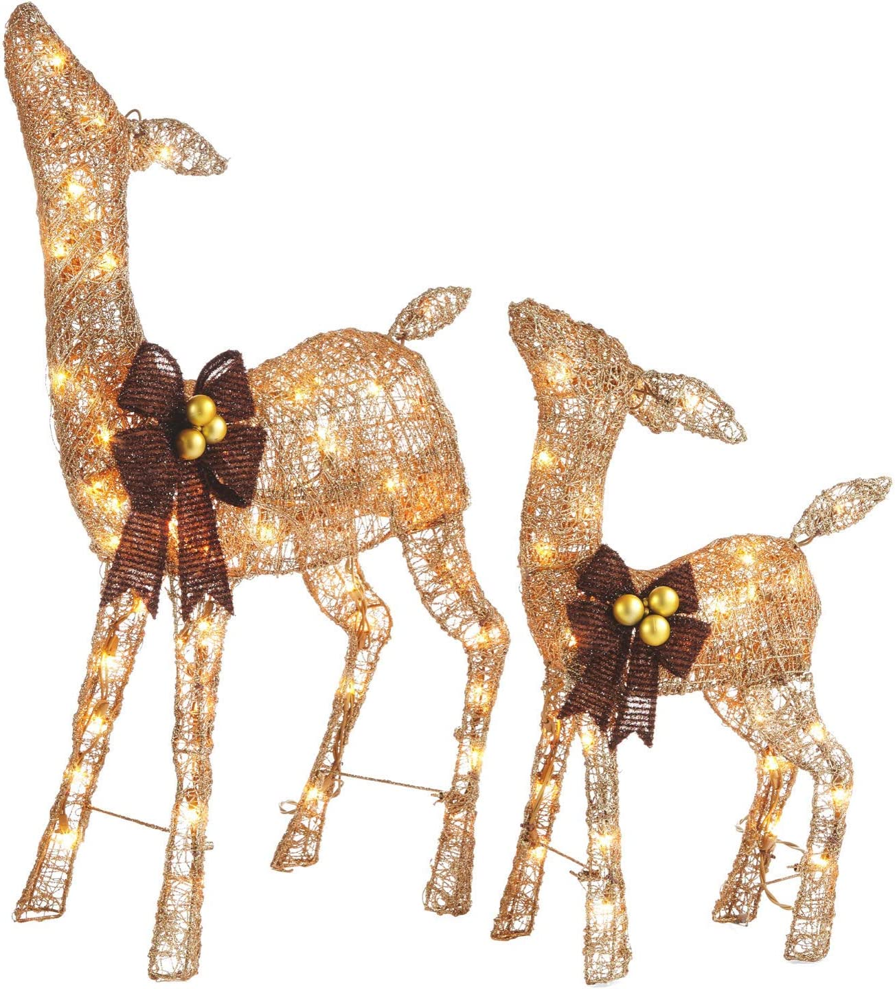 NOMA Pre-Lit Light Up Glitter Deer Set | Christmas Lawn Decoration | Indoor/Outdoor | 2.8' & 2' Feet Set | 2 Pack