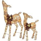 NOMA Pre-Lit Light Up Glitter Deer Set   Christmas Lawn Decoration   Indoor/Outdoor   2.8' & 2' Feet Set   2 Pack