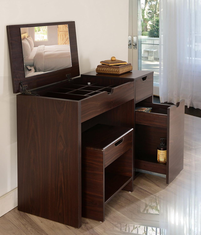 amazoncom iohomes marc 2piece modern vanity and storage stool set walnut kitchen u0026 dining