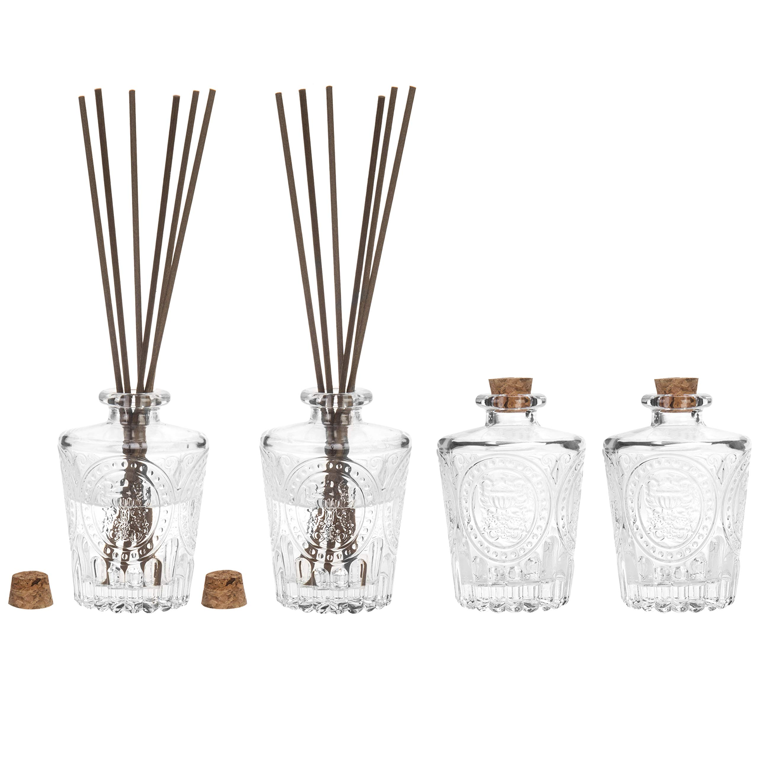 MyGift Vintage Embossed Glass Diffuser Bottles with Corked Lids, Set of 4