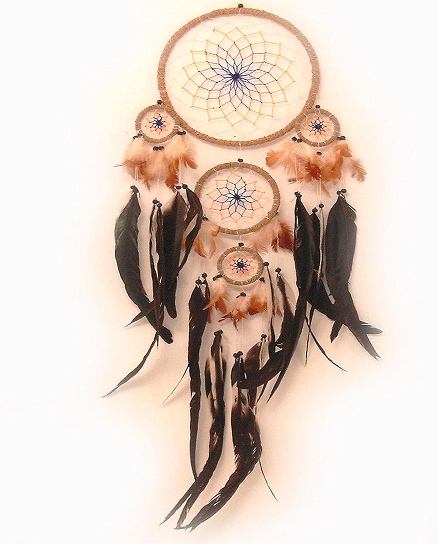Acchiappasogni con piume vere colorate, 22 cm di diametro, 70 cm di lunghezza BARTL 105772