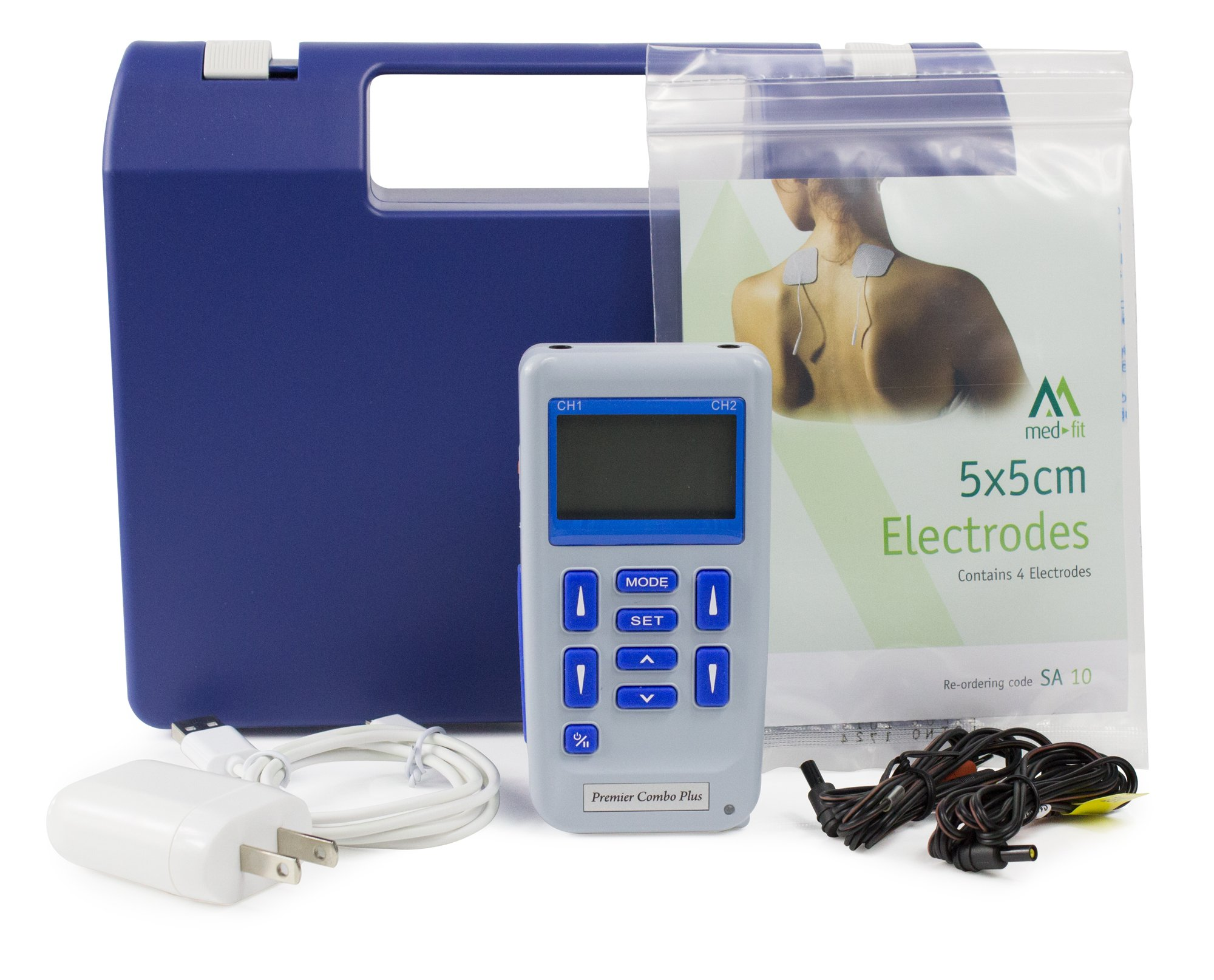 Premier Plus Rechargeable TENS Machine for Pain Relief - Combined with Muscle & Neuromuscular Simulation - 24 clinically Approved programmes by Med-Fit